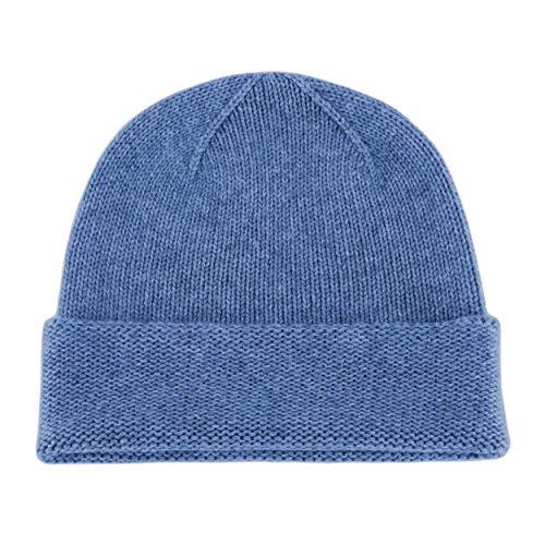 Love Cashmere Mens 100% Cashmere Beanie Hat - Denim Blue - Hand Made in Scotland RRP $120