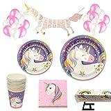 Decoraciones Unicornio y vajilla Rosa y Morado Unicorn Feliz Cumpleaños para niñas El Juego...