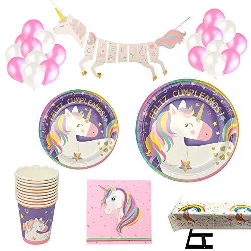 Decoraciones Unicornio y vajilla Rosa y Morado Unicorn Feliz Cumpleaños para niñas El Juego de 105 Piezas Incluye Platos, Vasos, Mantel, Servilletas,Guirnalda, Pajitas, y Globos para a 20 Personas
