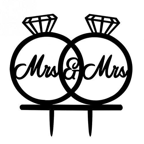 [USA-Sales] Mrs and Mrs, 2 Rings Cake Topper, Lesbian Wedding Decoration