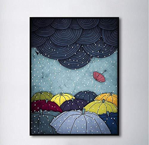 Nordic Kreative Wolken Regenschirm Dekorative Gemälde Modulare Bild Wandkunst Leinwand Malerei für Wohnzimmer-60X80 cm kein Rahmen