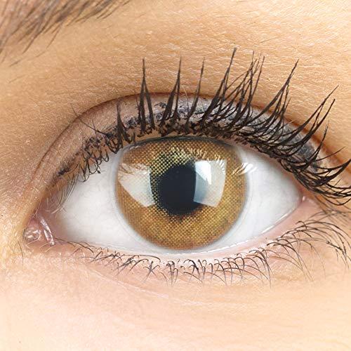 GLAMLENS Lenti a contatto colorate marrone chiaro Jas Brown Hazel - mensili - con porta lenti a contatto - marroni naturale in silicone idrogel - 2 pezzi - DIA 14.0 - senza correzione 0.00 diottrie