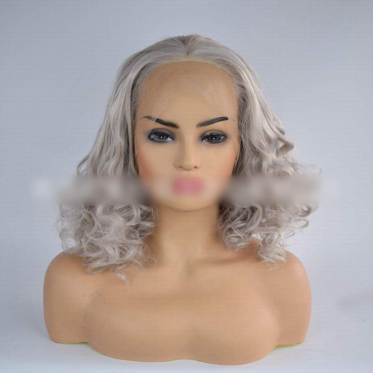 自宅で上に書き込みYrattary 女性のためのグレーの短い巻き毛合成レースフロントかつら合成毛レースのかつらロールプレイングかつら (色 : グレー)