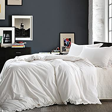 NTBAY Linen 3 Pieces Duvet Cover Set Solid Color with Exquisite Ruffles Design, Breathable, Queen Size, Ivory