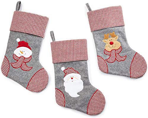 HEITMANN DECO Filz-Nikolausstiefel-Set 41 cm - Weihnachtsstrumpf grau rot weiß mit Webstoff zum Befüllen- Rentier, Weihnachtsmann und Schneemann Kopf