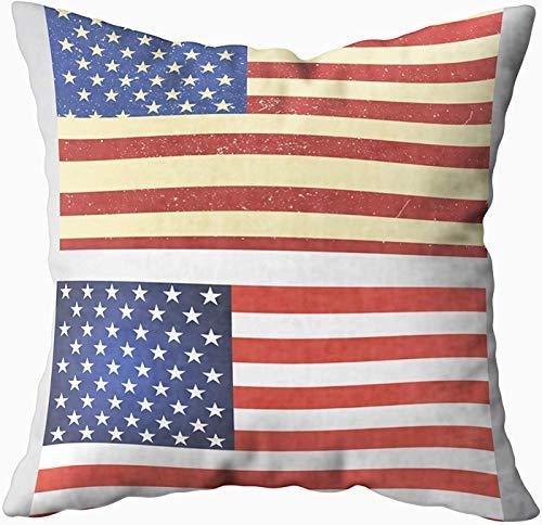 Art Funda de almohada, juego de dos banderas americanas aisladas blancas de 50 x 50 cm, fundas de almohada para decoración del hogar, fundas de almohada con cremallera para sofá o sofá