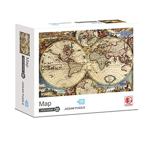 KING JUGUETES Puzzle Mapa Antiguo Mapamundi, Puzzle de 1000 Piezas, Ancient World Map Jigsaw, Juego Educativo y Creativo, Rompecabezas para niños y Adultos a Partir de 14 años