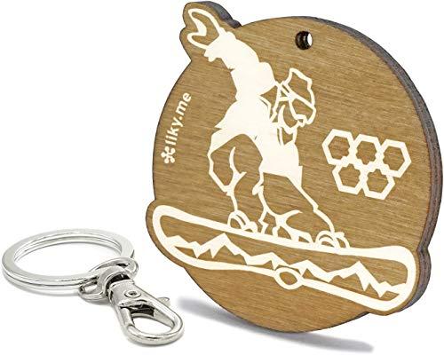 LIKY® Snowboard - Original Schlüsselanhänger aus Holz Gravur Geschenk Damen Herren Geburtstag Hobby Schmuck Anhänger Tasche Rucksack