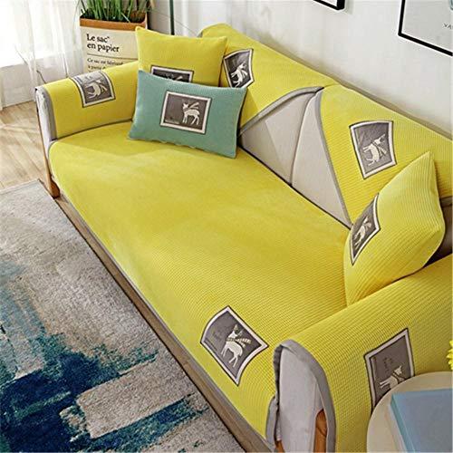 JIAHENGY Protector de Muebles para Sofá ,Cojín de sofá Antideslizante, cojín de sofá Transpirable, Funda de sofá de Toalla de Respaldo-Amarillo_110x210cm / (43x83 Pulgadas)