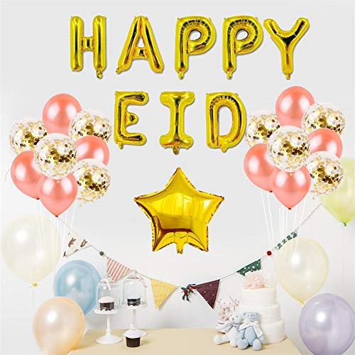 Eid Mubarak, decoratie met goudglitter en banner ballonnen