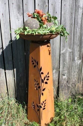 Rostikal | Rost Dekosäule Rosali mit runder Pflanzschale 47 cm | perfekt für den Balkon oder Gartendeko | Höhe 110