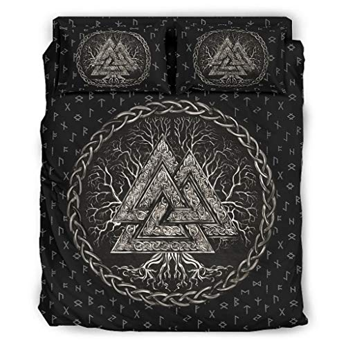Ginald Bedding Sets Viking Valknut And Tree Of Life 4 Piece Bed Sets Luxurious - Four Piece Bedding Sets white 228x228cm