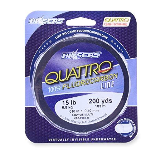 Hi-Seas Quattro 100% Fluorocarbon Schnur, Unisex-Erwachsene, Hi-Seas Quattro 100% Fluorocarbon Line, 12 lb (5.4 kg) Test, 1000 yd (914.4 m), Camouflage, 1000 Yard, 12 Pound Test