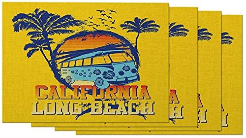 aipipl California Long Beach - Juego de 4 manteles Individuales para Acampar en el océano, Palmeras, Coche, Aves, Tabla de Surf, manteles Individuales para Mesa de Comedor, Lino de algodón de 12 x