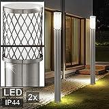 2er Set LED Stehleuchten Garten Weg Beleuchtung Edelstahl Sockel Stand Außen Lampen Terrasse