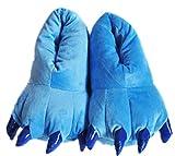 Wealsex Suave Terciopelo Garra Animal Unisex Espesar Calido Zapato Zapatilla Azul L:EU 39-46
