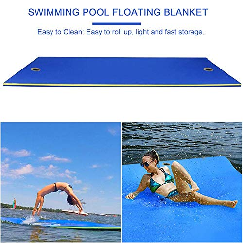 Dynamicoz Schwimmende Wasserauflagenmatte , Dickes Schwimmbecken Schaum Pool Schwimmende Matratze , Hüpfender, reißfester 3-Lagen-XPE-Schaum , Aufrollbare schwimmende Insel für Pool Lake Ocean Boat