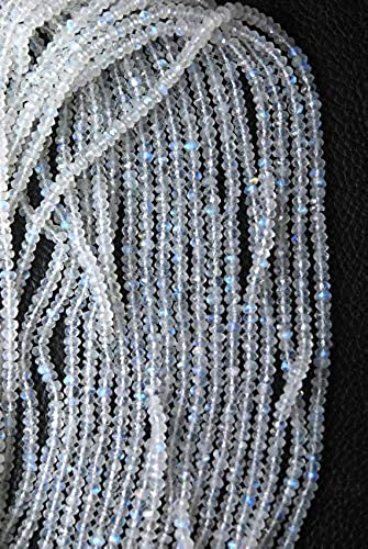 descuentos y mas GEMS-WORLD BEADS GEMSTONE GEMSTONE GEMSTONE 14 Inches Full Strand, Rainbow Moonstone Faceted Rondelles, At Wholesale Price, Talla 3.5mm  marca