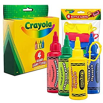 CRAYOLA Kids Hand Sanitizer Gel  4-Pack  2 oz Travel Size 75% Ethyl Alcohol Advanced No-Rinse Moisturizing Gel Made in USA 4 Colorful Matching Keychain Backpack Holders Included.