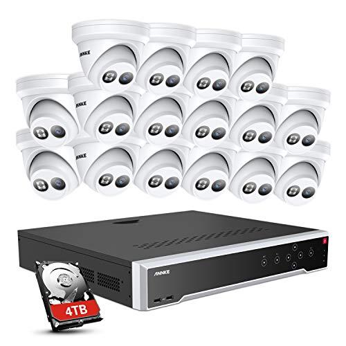 ANNKE Sistema de cámara de vigilancia PoE de 12 MP con 32 CH PoE NVR, 16 x 4 K, IP67 resistente al agua, cámara IP de 4 TB compatible con ONVIF.