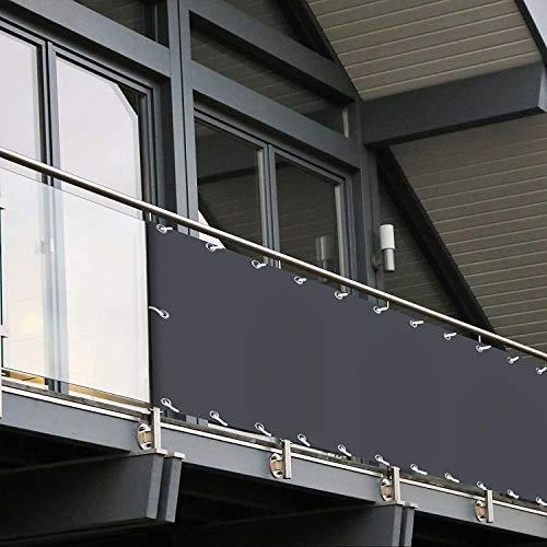 Muchas Pantalla de privacidad para Balcon, Resistente a los Rayos UV, con Cuerda sujeción, para Jardín Balcón Terraza - Gris 0.5x5m