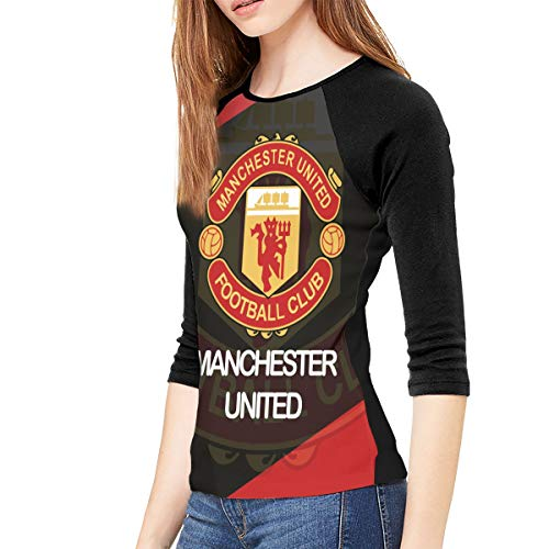 Manchester United T-Shirts for Womens, 3/4 Sleeve Casual Sweatshirt
