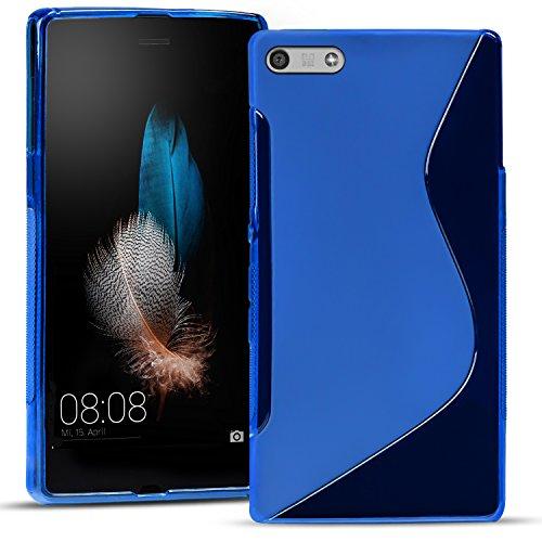 Conie SC11712 S Line Hülle Kompatibel mit Huawei P7 Mini, TPU Smartphone Hülle Transparent Matt rutschfeste Oberfläche für P7 Mini Rückseite Design Blau