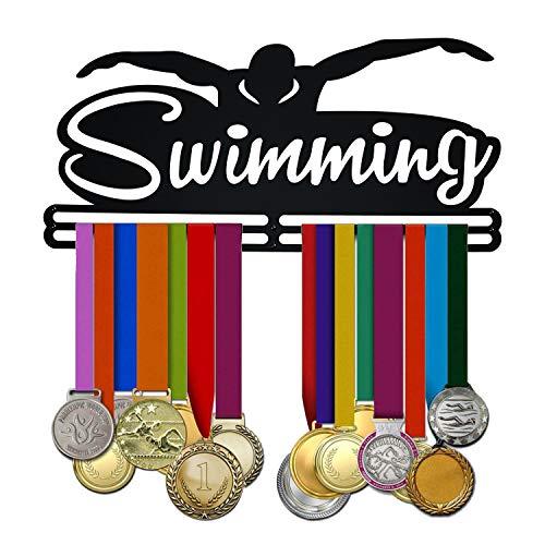 Porta Medaglie Nuoto Swimming Swimmer da Parete | Medaglie Bambini – Accessori Piscina | Medal Hanger Display Medagliere – Muro | Appendiabiti per Medaglia (Nero)