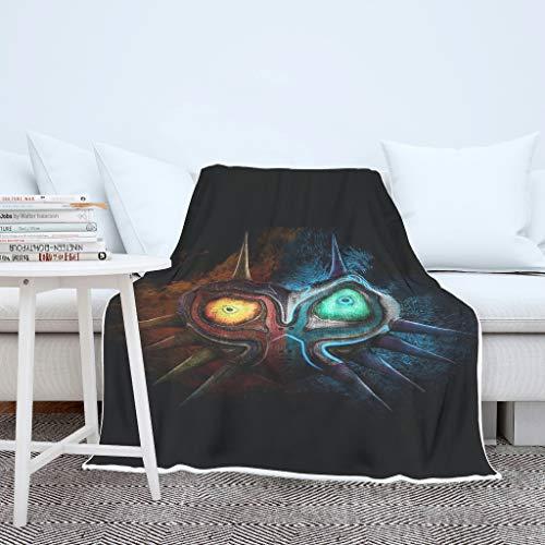 Manta para el salón Zelda Majora con máscara de peluche, para hombre y mujer, cálida, de viaje, color blanco, 150 x 200 cm