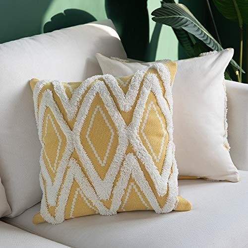 Xijiang Funda de cojín tejido de algodón borlas funda de almohada estilo morroccano Tuft para decoración del hogar sofá cama 45x45cm/30x50cm/50x50cm Amarillo45x45cm