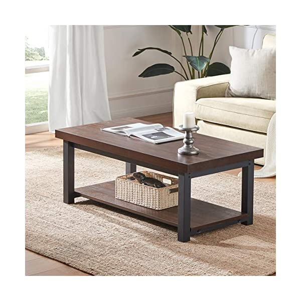 DYH Coffee Tables for Living Room, Rustic Wood and Metal Cocktail Table with Shelf,...