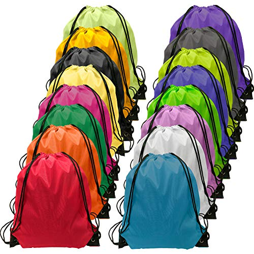 Drawstring Backpack Bulk Cinch Bag Kids Nylon String Backpack String Bag 16 Colors