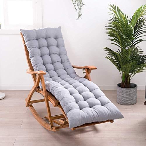Cojines para tumbona, cojines de jardín, cojines gruesos, cojines de suelo grandes, para interiores y exteriores, Gris, 160x48cm