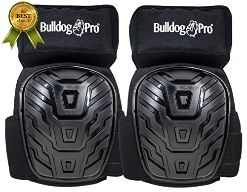Bulldog Proz Professional Knee Pads, Heavy Duty Foam, Comfortable Gel Cushion, Strong Double Straps, Easy Adjustment, Great for Contractors, Flooring, Roofing, Gardening and more. Best fit !