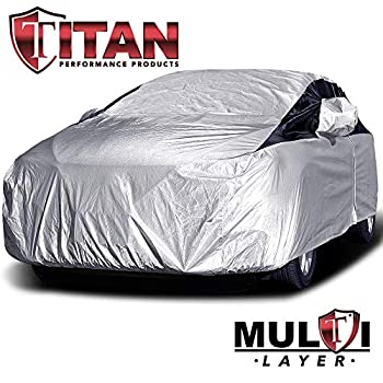 Premium Multi-Layer PEVA Compact Sedan Car Cover for Corolla Sentra and More Waterproof and UV Protective Measures 185 Inches Protective Lining Driver-Side Zippered Opening Tie-Down Straps.