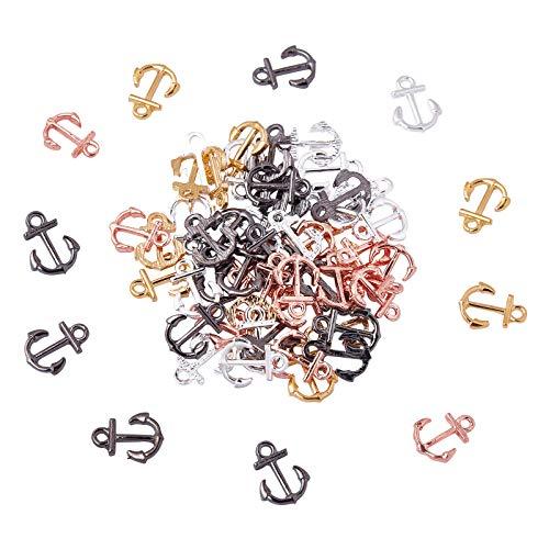 Nbeads, 80 ciondoli a forma di ancora, in ottone, colori misti, per bracciali, orecchini, collane, gioielli