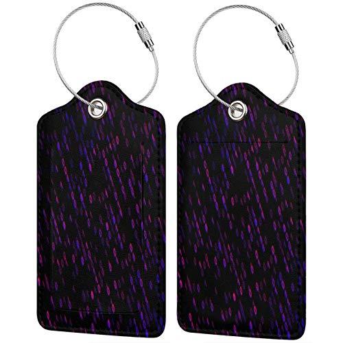 FULIYA Juego de 2 etiquetas de equipaje seguras de alta gama de cuero para maletas, tarjetas de visita o bolsa de identificación de viaje, código, código binario, brillo, patrón