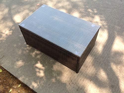 Fimous Rattan oblong coffee table Outdoor Garden Furniture patio furniture Dark Brown Mix