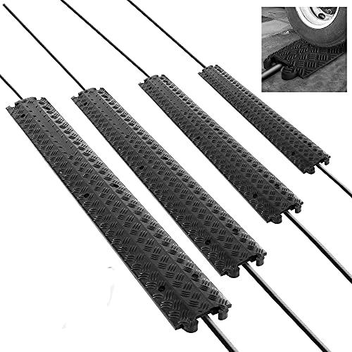 Pyle PCBLCO101BK-X4 157 Inch 4-Channel Ramp Rubber Floor Cord Concealer - Heavy Duty Cable Protector Wire/Hose/Pipe Hider Driveway Protective Covering Armor PCBLCO101BK-X4