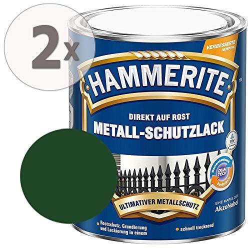 Hammerite Metall-Schutzlack glänzend Grundierung Rostschutz dunkelgrün Sparpaket, 2 x 750ml