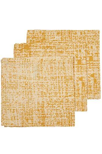 Meyco 457020 Lot de 3 chiffons à poudre hydrophile 100% coton 30 x 30 cm Motif Fine Lines Jaune océan