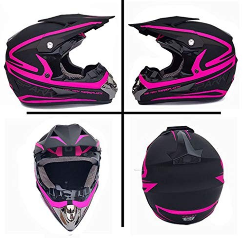 CXLL Casco de motocicleta con diseño de flota de cara completa para BMX ATV Downhill Scooter para adultos, casco de motocross con gafas/máscaras/guantes/red de casco (rosa mudo, L)