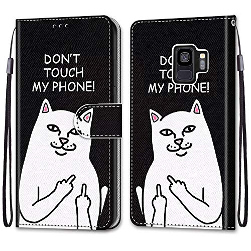 Nadoli Handyhülle Leder für Samsung Galaxy S9,Bunt Bemalt Lustig Weiße Katze Trageschlaufe Kartenfach Magnet Ständer Schutzhülle Brieftasche Ledertasche Tasche Etui