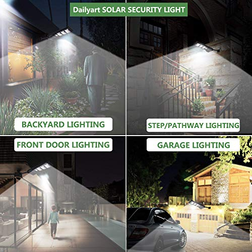 Dailyart 30W Solar Street Light 90 Led Solar Lights Outdoor IP65 Waterproof Solar Flood Light with Motion Sensor Dusk to Dawn Security Light for Yard, Garden, Street, Basketball Court, Gutter(6000k)