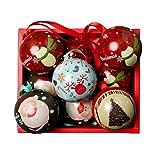 Leikance - Caja de caramelos de hojalata de Navidad, diseño esférico desmontable para decoración de árbol de Navidad, 9 piezas