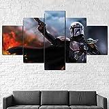 UYTRE Yoda Baby Mandalorian 5 Pezzi Stampa su Tela Quadri Soggiorno Moderno XXL HD Immagine Quadri Telaio Murale,Usato per Ufficio Camera da Letto Decorativo (H-100 cm x M/B-200 cm)