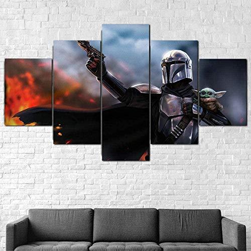 5 piezas cuadro en lienzo Cuadro compuesto por 5 lienzos impresos en HD, utilizados para decoración...