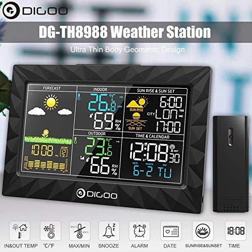 Destock Digoo DG-TH8988 - Stazione Meteo per Interni ed Esterni, igrometro, termometro, Allarme Snooze, Orologio