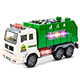 Toysery Friction Powered Garbage Truck Toy for Kids, Waste Management Recycling Dump Truck Toys Back Bump Function with Smart Trash Cans, Lights and Sounds Vehicle Truck Toys for Toddler Boys Girls