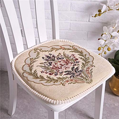 Beige Floral Chair Pads for Dining Chairs, Comfortable...